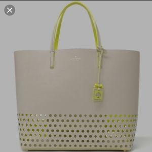 Kate Spade | Beige/Cream Neon Yellow Tote Bag